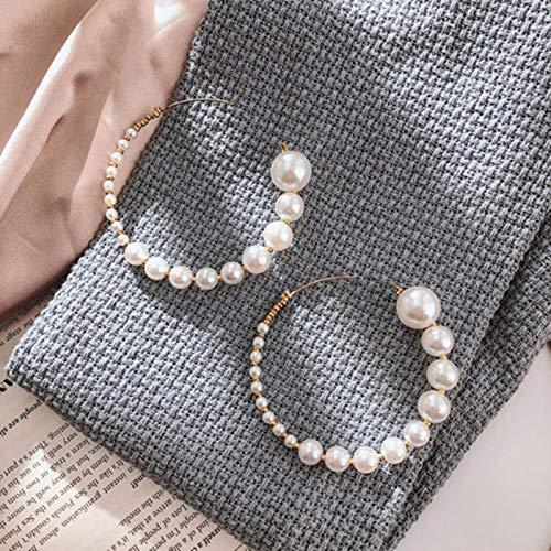 BLUESTEER Eleganti Orecchini a Cerchio in Oro Grandi Rotondi per Le Donne Orecchini di Perle Bianche Regali di Nozze Gioielli di Moda, ez433-4