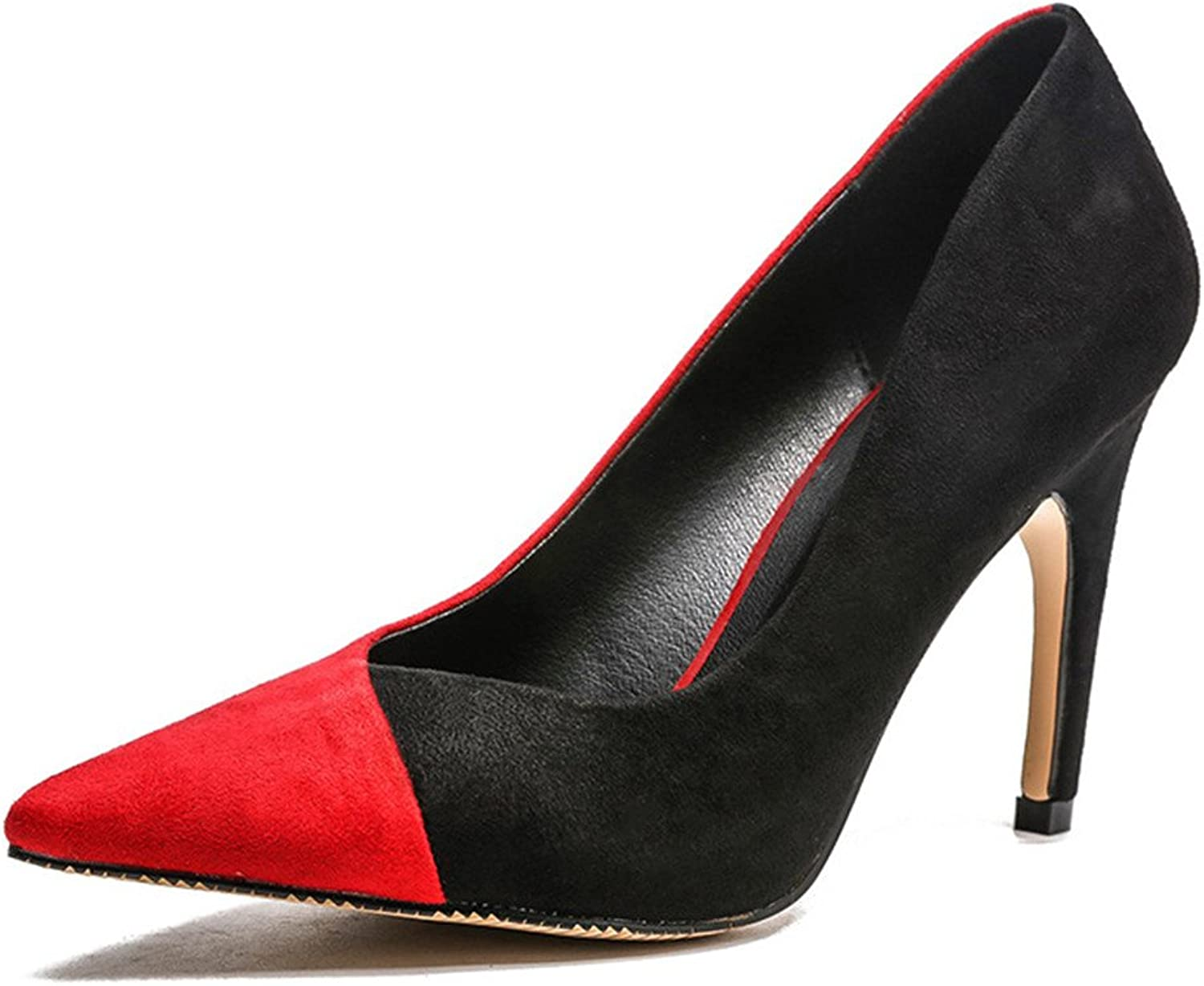Gusha Two-color Matte Women's Formal Dress Closed-Toe Pointed High Heels Party Dance Stilettos