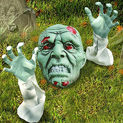 Halloween Outdoor Decorations, Zombie Yard Lawn Stakes with Head Face and Arms, Realistic Skeleton...