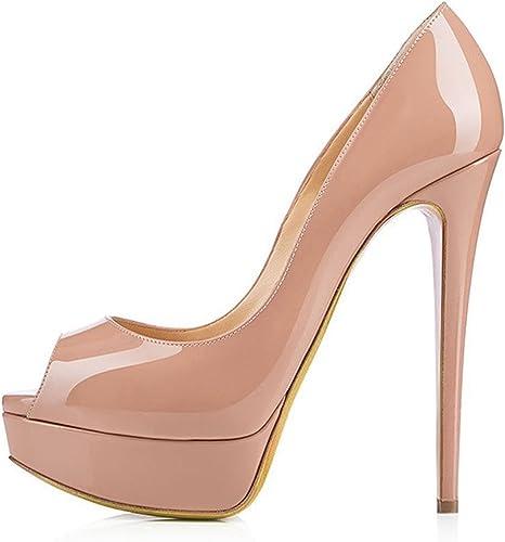 DYF Chaussures femmes de grande taille de couleur solide haut talon pointu,bouche peu profonde couleur abricot,45
