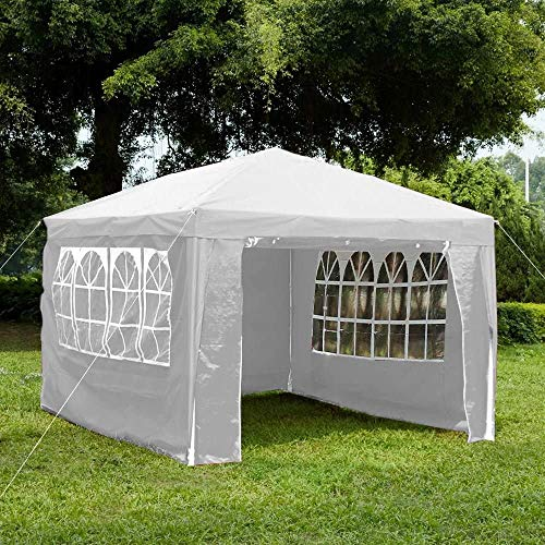 Garden Vida Gazebo with Side Panels 3x4m Marquee Zip Up Party Tent Outdoor Garden Canopy Waterproof with Wind Bar, White