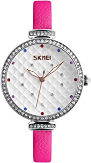SKMEI Fashion Casual Quartz Watch 3ATM Water-resistant Women Watches Genuine Leather Wristwatch Female Relogio Feminino