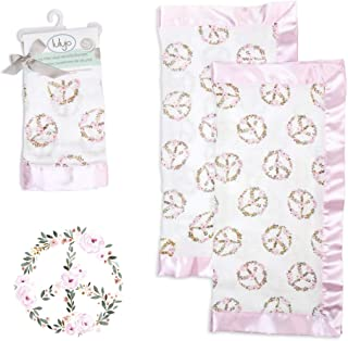 lulujo Baby Security Lovie Blankets| Unisex Softest Breathable Cotton Muslin Security Blanket with Silky Satin Trim| Neutr...