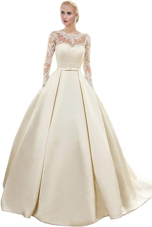 Engerla Women's 2016 Lace Applique Aline Sleeves Long Train Wedding Dress