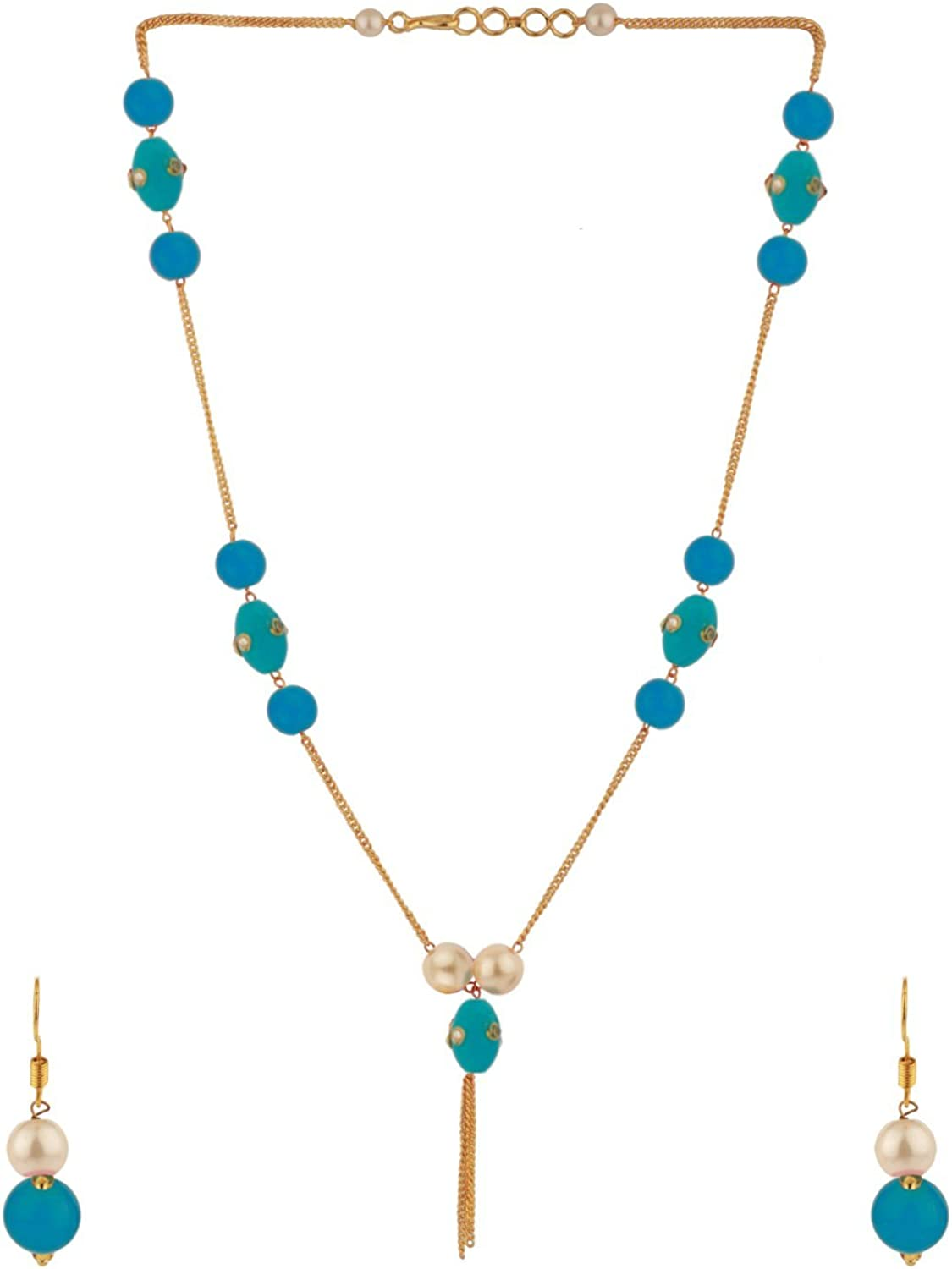 Ethnadore Indian Gold Plated Blue Faux Pearl Beads Strand Neckalce Earrings Set Costume Jewelry