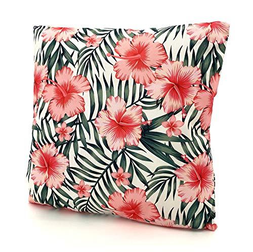 heimtexland ® Outdoorkissen Tropical Dekokissen Lotus Effekt Schmutz- und Wasserabweisend Garten Outdoor Kissen 45x45 Typ688 (Hibiskus)