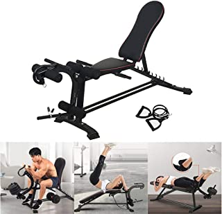 Utility Barbell Lifting Press Exercise Workout Bench 8 IN 1 Abdominal Trainers Push Ups Workout Beauty Waist Machine for Home Strength Training Folding Flat Incline Decline Bench with 2 Fitness Rope Adjustable Weight Bench