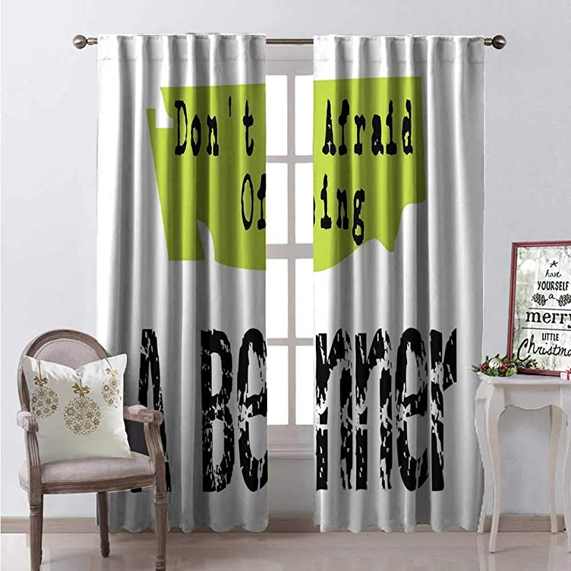 Hengshu Quote Room Darkening Wide Curtains Grunge Style Dont Be Afraid of Being a Beginner Creative Typographic Design Decor Curtains by W84 x L108 Black Apple Green