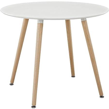 H.J WeDoo Ronde Table de Salle à Manger scandinave Diamètre 80cm Moderne Style Nordique en Bois, Blanc