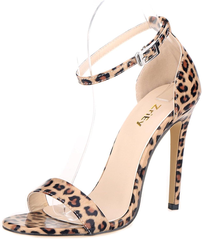 MKHDD Frauen Heeled Sandalen Knchelriemen High Heels 11 cm Offene Spitze Leoparden Hohe Stiletto Pumps Hochzeit Kleid Sandale