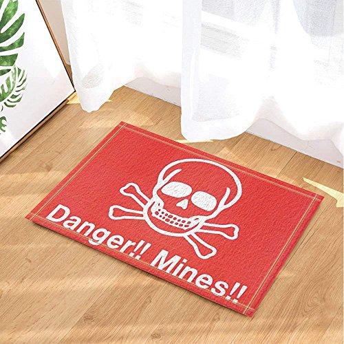 CUIMEISHEN Crâne Peinture Décor Crâne pour Le Danger et Les Mines Tapis de Bain Paillasson Anti-dérapant Étages d