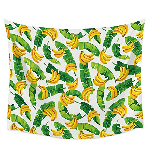 WAXB Tapiz Hojas De Plátano Tapiz Colgante De Pared De Plátano Manta De Cama Bohemia Tapices De Decoración De Pared De Dormitorio Familiar Decoración del Hogar, Regalo, 51 X 59 Pulgadas