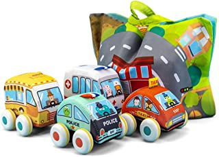 UNIH Pull-Back Vehicle Baby Toys of Soft Plush Car Set with Play Mat (Storage Bag), for Toddlers Aged 1 2 3 Year Old