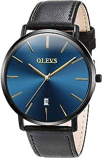 Mens Minimalist Leather Strap Watches Brown Black Blue Leather Band Quartz Wrist Watches, Waterproof & Date Window