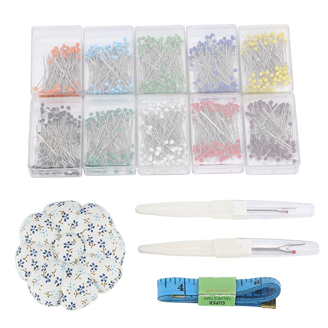 Steel Ultra-Fine Glass Head Pins Set, Sewing Tool Set Glass Head Pin Seam Ripper Pin Cushion Measure Tape Needlework DIY Tools Patchwork Craft Kit and Patchwork Pin Holder Soft Ruler(#2)
