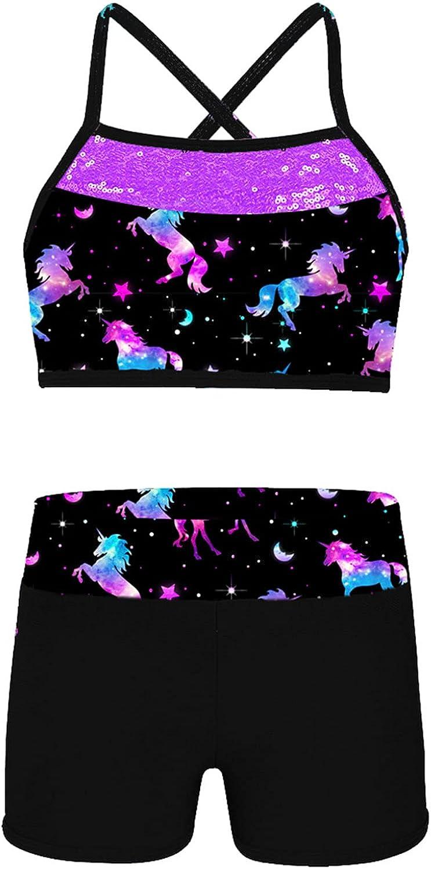 Hansber Kids Girls 2 Piece Mermaid Tankini Swimwear Sport Outfits Strappy Crop Tops with Bottoms Swim Set