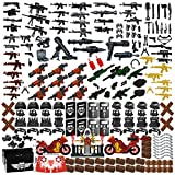 Nicolababe Weapon Pack 225 PCS Accessories Military Weapon Set Incl Helmet Body Armor Cloak and Motorcycles Designed for Minifigures Compatible with Minifigures of All Major Brands (SWAT Weapon)