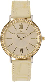 Louis Arden for Women Analog Leather Watch-LA3053L-GD-WHT-GD