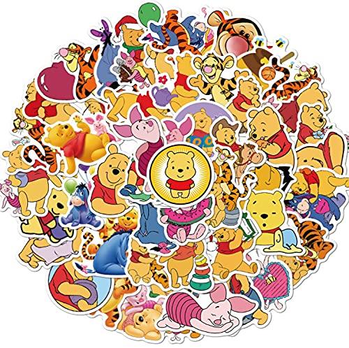 wopin 100 PCS Adesivi Winnie The Pooh Cartoon Adesivi Bottiglie d'Acqua, Moto, Quaderni, Bagagli, Bicicletta, Skateboard, Ottimo Regalo per Bambini, Ragazzi, Adolescenti