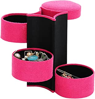 Lezed Joyero cilíndrico para joyas, caja de joyas, caja de joyería retro, caja de joyas, joyero, caja de anillos, caja de ...