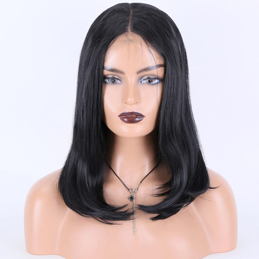 Miss Diva Short Limited Sacramento Mall time cheap sale Black Bob Straight Synthetic Lace Wigs Fro