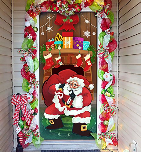 Joiedomi Christmas Santa with Gifts Window Door Cover Holiday House Decoration 72X30 Inches