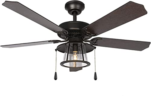 discount 52 Inch Traditional outlet sale Style Indoor Bronze Ceiling Fan with Light Kit, Industrial Pull Chain Ceiling Fan with Lighting, Reversible Blades and Motor, UL Listed for Living lowest Room, Bedroom outlet sale