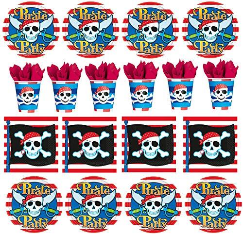 32 TLG. Geschirr Set Piraten Party Pirates Kindergeburtstag Teller Becher Servietten Piraten Party für bis zu 8 Kinder