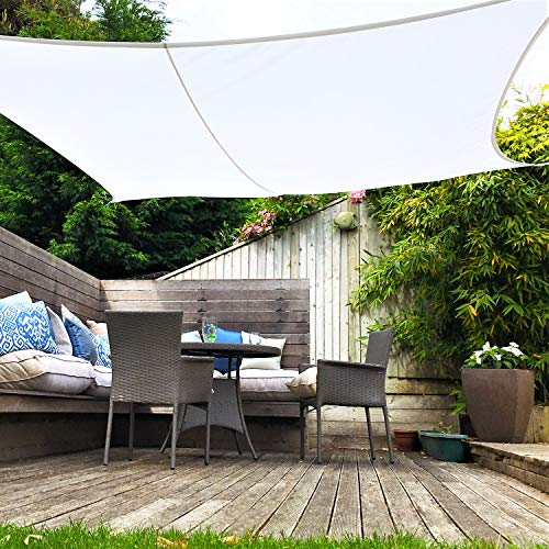 Clara Sun Shade Sail Garden White Waterproof UV Sun Protective Screen Shelter Awning Gazebo Canopy Pergola Patio Outdoor Indoor (Square 5m)
