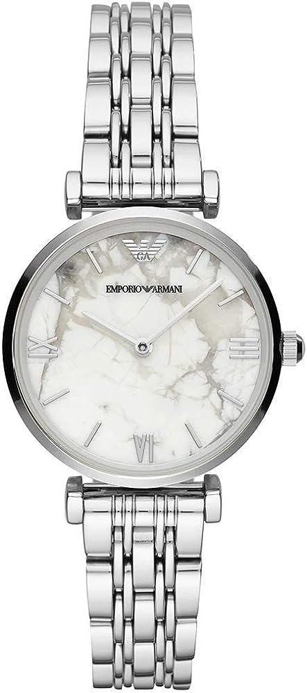 Emporio armani orologio quadrante in marmo bianco con cassa e cinturino in acciaio inossidabile AR11170