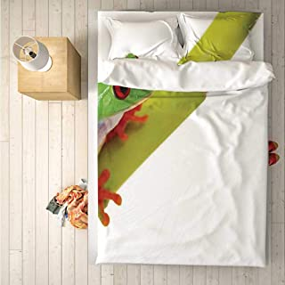 Animal Decor Comfortable 4 Piece Bedding Set,Cute Little Tree Frog Sitting on The Branch Native Animals in American Wilds Photo for Hotel,One Side Print : Double
