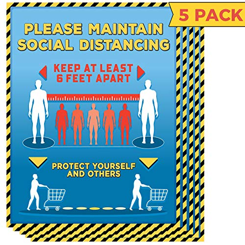 Social Distancing Sign Decal Poster for Shops & Businesses - 8.5x11 Laminated Vinyl Sign for Entry Door, Window or Wall - 6 Foot Distancing Sign Banner (5 Pack)