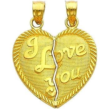 14K Real Yellow Gold Boy /& Girl 2 Broken Breakable Split Heart Charm Pendant
