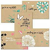 Thinking of You Kraft Greeting Card Value Pack - Set of 20 (5 designs), Large 5' x 7' Friendship Cards, Envelopes Included