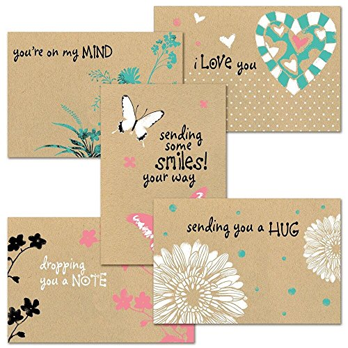 "Thinking of You Kraft Greeting Card Value Pack - Set of 20 (5 designs), Large 5"" x 7"" Friendship Cards, Envelopes Included"