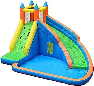 TXOZ-Q Grande Inflable Piscina al aire libre castillo hinchable, for niños o for adultos Juegos Centro de Actividades con Tobogán de agua, nylon y tela Oxford, Apto for 5-8 personas (400 x 310 x 230 c