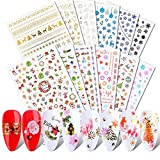 JMEOWIO 3D Nail Stickers Christmas, 12 Sheets Stickers Nail Decals Snowflake Elk Nail Art Decals Design DIY...