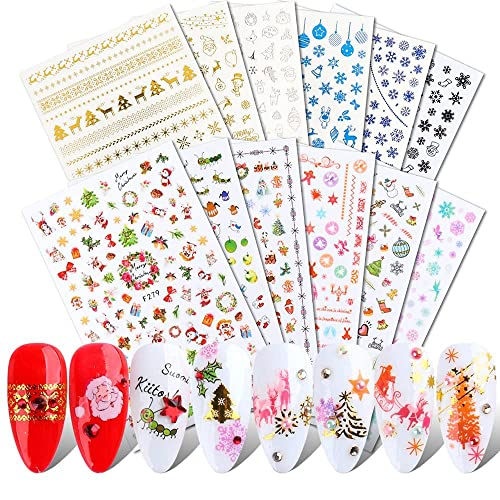 JMEOWIO 3D Nail Stickers Christmas, 12 Sheets Stickers Nail Decals Snowflake Elk Nail Art Decals...