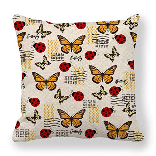 LPLH Butterfly Moth Insect Animal Modern Minimalist Style encrypted Fine Linen Pillowcase Cushion Cover Ym284-1_45*45cm