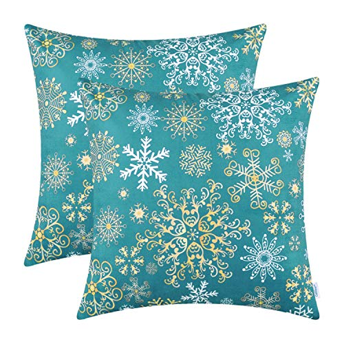 CaliTime Pack of 2 Cozy Fleece Throw Pillow Cases Covers for Couch Bed Sofa Christmas Snowflakes Both Sides 16 X 16 Inches Teal
