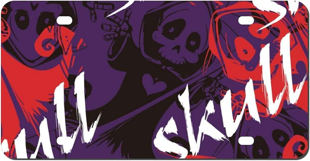 yiliusu Max 72% OFF Cool Retro Skull Graphics Vanity Sales of SALE items from new works Front tag Aluminum Lice