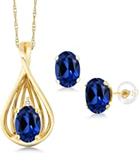 Gem Stone King 1.81 Ct Blue Simulated Sapphire White Diamond 10K Yellow Gold Pendant Earrings Set