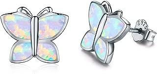 Opal Stud Earrings 925 Sterling Silver Hypoallergenic Butterfly Stud Earrings for Women