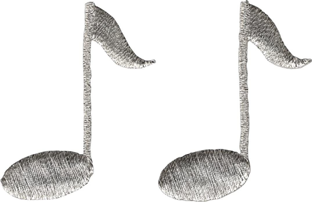 Music Note - Silver SET OF TWO ! - Embroidered Sew or Iron on Patch
