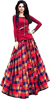3a05d786405206 Generic Women's Bangalori Silk Long Skirt Gown And Top (jd107 _Multicolor_  free)