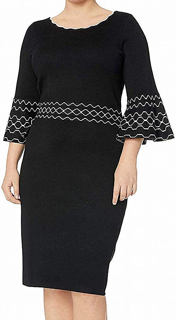 Gabby Skye Women's Plus Size 3/4 Bell Sleeve Round Neck Sweater Sheath Dress