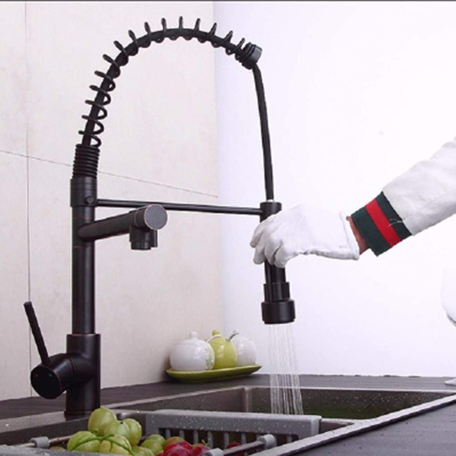 Kitchen tap High Pressure Pull Spring Faucet Kitchen Cooling Hot All Copper Double Outlet Large Flume golden Faucet,D