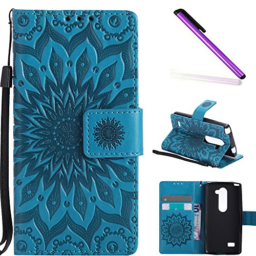 COTDINFOR LG Leon Protective Standing Hülle Elegant PU Tasche Leder Flip Schutzhülle im Bookstyle Kartenfächer Magnet Etui Schale für LG Leon 4G LTE H340N C40 C50 Blue Sunflower KT.
