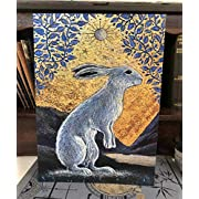 Creggan White Hare | Greetings Card by Hannah Willow | Eco-Friendly | Regal White Hare in A Golden Glade | Artistic Birthday Card