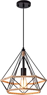 Industrial Wire Cage Pendant Light Vintage Farmhouse Pendant Light with Rope for Kitchen Island Bedroom, UL Listed Wires, Black, by YIFI